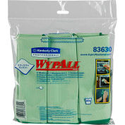 "Wypall Microfiber Cloths W/Microban, 15-3/4"" X 15-3/4"", Green, 6 Cloths/Pack - KIM83630"