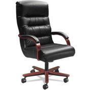 La-Z-Boy® Contract Horizon Collection Executive High Back Chair, Black Leather/Natural Cherry