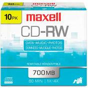 Maxell 630011 CD-RW Discs, 700MB/80min, 4x, Silver, 10/Pack