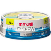 Maxell 635117 DVD-RW Discs, 4.7GB, 2x, Spindle, Gold, 15/Pack
