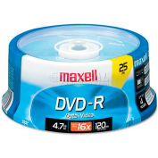 Maxell 638010 DVD-R Discs, 4.7GB, 16x, Spindle, Gold, 25/Pack