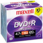 Maxell 639005 DVD+R Discs, 4.7GB, 16x, w/Jewel Cases, Silver, 10/Pack