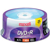 Maxell 639011 DVD+R Discs, 4.7GB, 16x, Spindle, Silver, 25/Pack