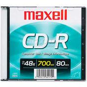 Maxell 648201 CD-R Disc, 700MB/80min, 48x, w/Slim Jewel Case, Silver