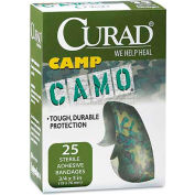 """Curad CUR45701 Kids Adhesive Bandages, Green Camouflage, 3/4"""" x 3"""", 25/Box"""