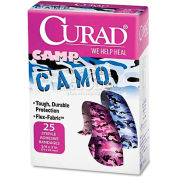 """Curad CUR45702 Kids Adhesive Bandages, Pink and Blue Camouflage, 3/4"""" x 3"""", 25/Box"""
