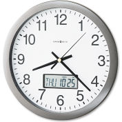 "Howard Miller® Chronicle Wall Clock w/ LCD Inset, 14"", Gray"