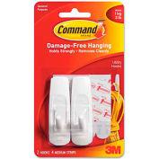 3M Command™ General Purpose Hooks, 3-lb Capacity, Plastic, White, 2/Pack