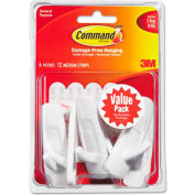 3M Command™ General Purpose Hooks Value Pack, Medium, Holds 3-lb, White, 6/Pack