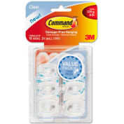 3M Command™ Clear Hooks and Strips, Plastic, Mini, 18 Hooks with 24 Adhesive Strips per Pack