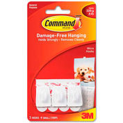 3M Command™ General Purpose Hooks, Plastic, White, 3/Pack