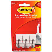 3M Command™ General Purpose Hooks, Small, Holds 1/2-lb, White, 3/Pack