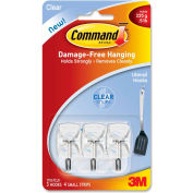 3M Command™ Clear Hooks & Strips, Plastic/Wire, Small, 3 Hooks w/ 4 Adhesive Strips per Pack