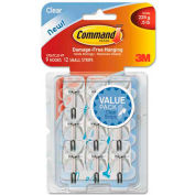 3M Command™ Clear Hooks & Strips, Plastic/Wire, Small, 9 Hooks w/12 Adhesive Strips per Pack
