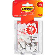 3M Command™ General Purpose Hooks, Small, Holds 1/2-lb, White, 9/Pack