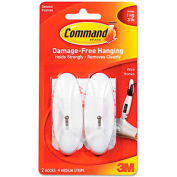 3M Command™ General Purpose Hooks, Medium, 3-lb Capacity, Plastic, White, 2/Pack