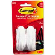 3M Command™ General Purpose Hooks, Designer, Holds 3 lbs., White, 2/Pack
