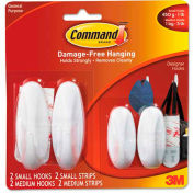 3M Command™ General Purpose Hooks Value Pack, Small/Medium, Holds 3-lb, White, 4/Pack