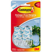 3M Command™ Clear Hooks and Strips, Plastic, Medium, 2 Hooks with 4 Adhesive Strips per Pack