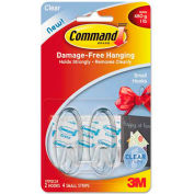 3M Command™ Clear Hooks and Strips, Plastic, Small, 2 Hooks with 4 Adhesive Strips per Pack