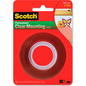 "Scotch® Double-Sided Mounting Tape, Industrial Strength, 1"" x 60"", Clear/Red Liner"