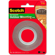 "Scotch® Exterior Weather-Resistant Double-Sided Tape, 1"" x 60"", Gray w/Red Liner"