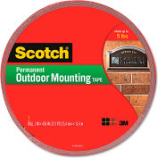 """Scotch® Exterior Weather-Resistant Double-Sided Tape, 1"""" x 450"""", Gray w/Red Liner"""