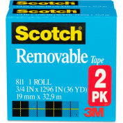 "Scotch® Removable Tape, 3/4"" x 1296"", 1"" Core, 2/Pack"