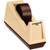 "Scotch® Heavy-Duty Weighted Desktop Tape Dispenser, 3"" Core, Plastic, Putty/Brown"