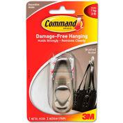 3M Command™ Adhesive Mount Metal Hook, Medium, Brushed Nickel Finish