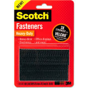 "Scotch® Hook and Loop Fastener Tape, 1"" x 3"", two sets, Black"