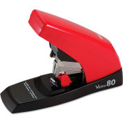 Max® Vaimo 80 Heavy-Duty Flat-Clinch Stapler, 80-Sheet Capacity, Red/Brown