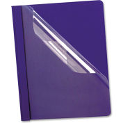 Oxford® Premium Paper Clear Front Cover, 3 Fasteners, Letter, Blue, 25/Box