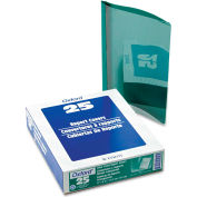 Oxford® Premium Paper Clear Front Cover, 3 Fasteners, Letter, Green, 25/Box