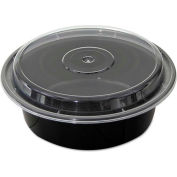 "VERSAtainer Microwavable Round Containers, 32 oz., 7"" Diameter, Black/Clear - 150 Pack"
