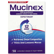 Mucinex 63824-02314 Max Strength Expectorant, 14 Tablets per Bottle