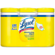 "Lysol Brand® Disinfecting Wipes, 7"" X 8"", Lemon & Lime Blossom, 3 Canisters/Pack - RAC84251"