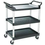 Rubbermaid® 3424-88 Three-Shelf Black Utility Cart