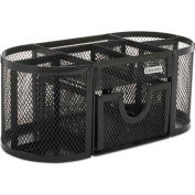 Rolodex™ Mesh Pencil Cup Organizer,Four Compartments,Steel,9 1/3 x 4 1/2 x 4, Black