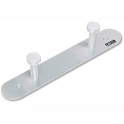 Safco® Metal Wall Coat Rack, 2 Nail-Head Hooks, Satin Aluminum