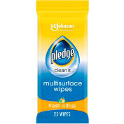 Pledge® Multi-Surface Everyday Wipes, Fresh Citrus, 7 x 10, 25 Wipes/Pk, 12 Packs - 644080