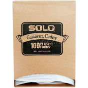 SOLO® Cup Company Guildware Extra Heavy Weight Plastic Forks, White, 100 per Box
