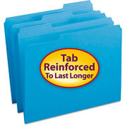 Smead® File Folders, 1/3 Cut, Reinforced Top Tab, Letter, Blue, 100/Box
