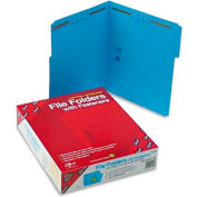 Smead® Folders, Two Fasteners, 1/3 Cut Assorted Top Tab, Letter, Blue, 50/Box