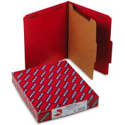 Smead® Pressboard Classification Folders, Letter, Four-Section, Bright Red, 10/Box