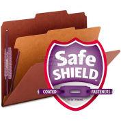 Smead® Pressboard Classification Folders, Self Tab, Letter, Four-Section, Red, 10/Box