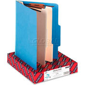 Smead® Top Tab Classification Folders, Two Dividers, Six-Sections, Blue, 10/Box