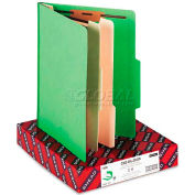 Smead® Top Tab Classification Folders, Two Dividers, Six-Section, Green, 10/Box