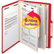 Smead® Top Tab Classification Folders, Two Dividers, Six-Section, Red, 10/Box