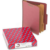 Smead® Pressboard Classification Folders, Self Tab, Letter, Six-Section, Red, 10/Box